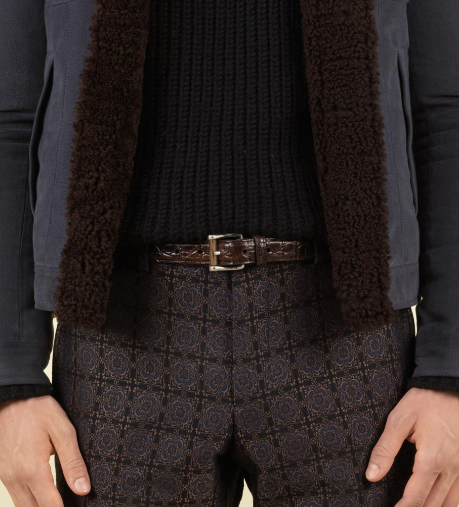 gucci brown brown crocodile skinny belt with horn detail product 3 3960495 778547690 Thắt lưng nam FTT leather